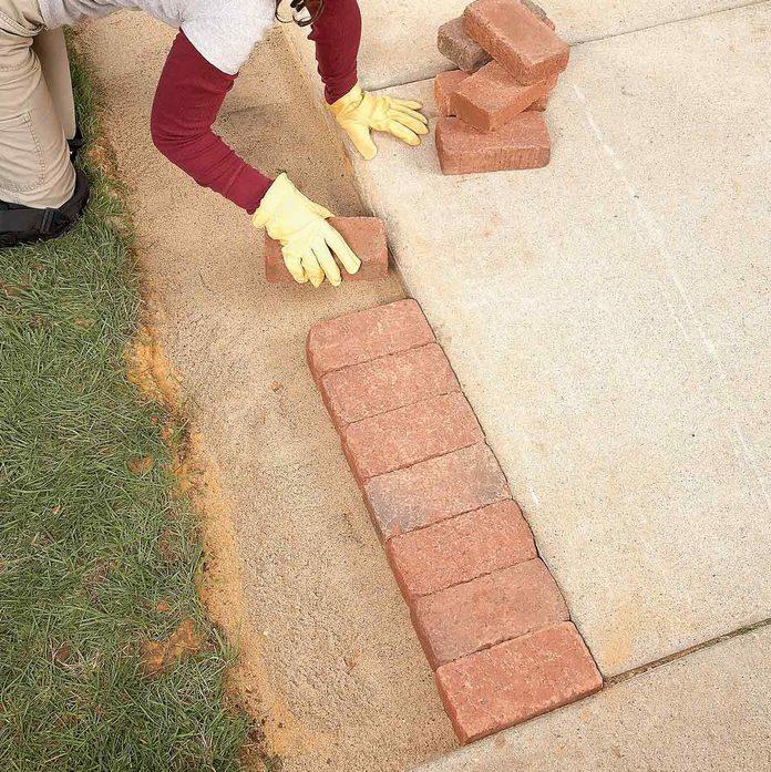 place the bricks brick pavers
