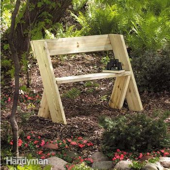 simple wooden bench sits in a garden