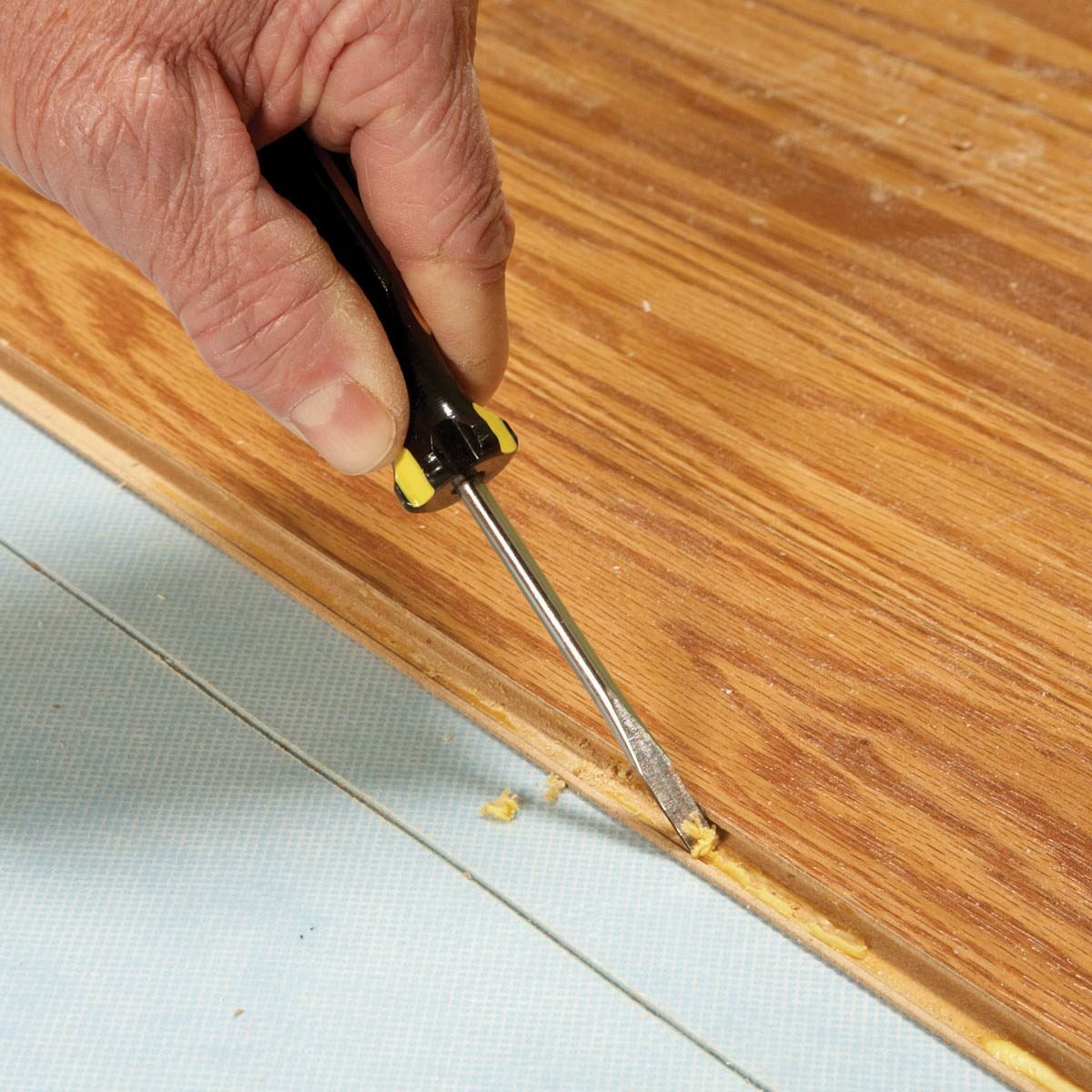 remove glue from planks