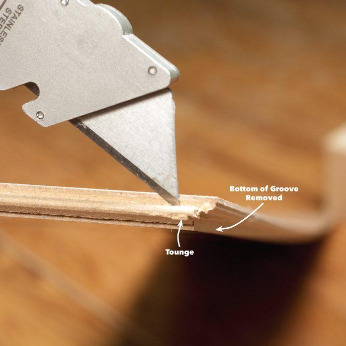 remove bottom lip laminate floor plank