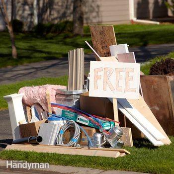 junk piled up near a curb