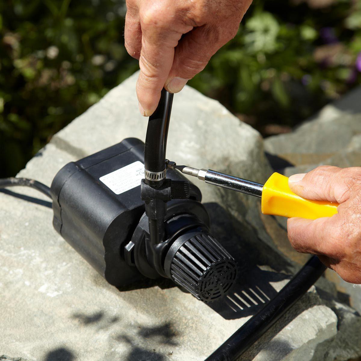 small backyard waterfall pump