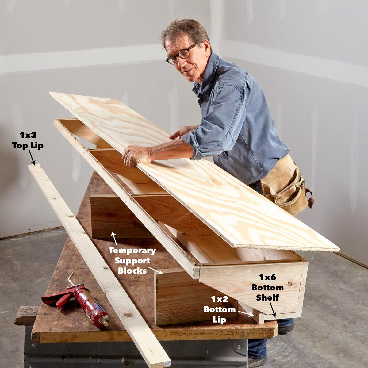Assemble garage shelf