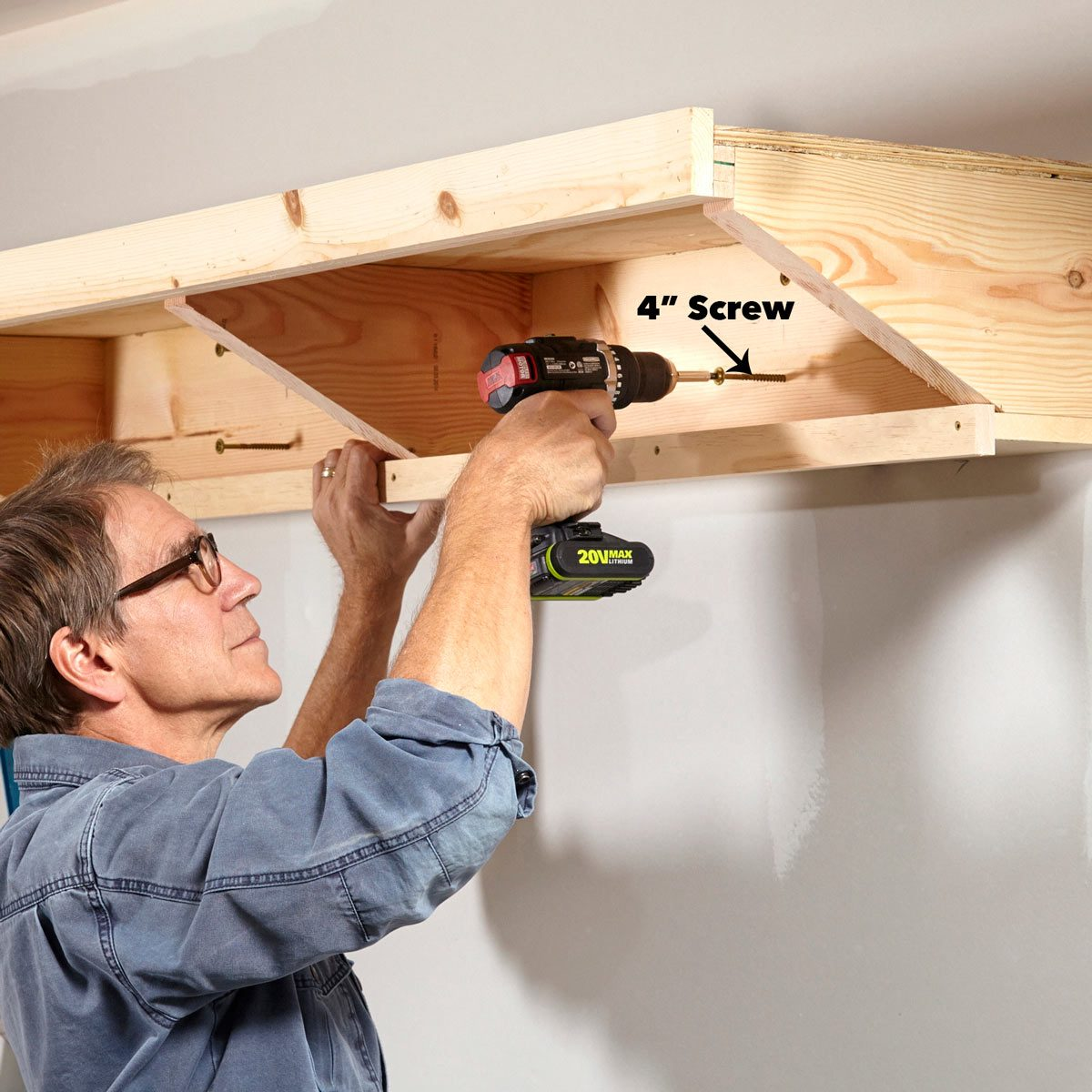 secure garage shelf to the wall