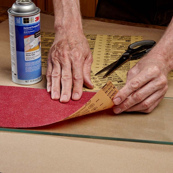 glue sandpaper to glass