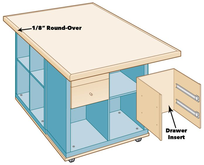 Round Edges and install drawers to craft table