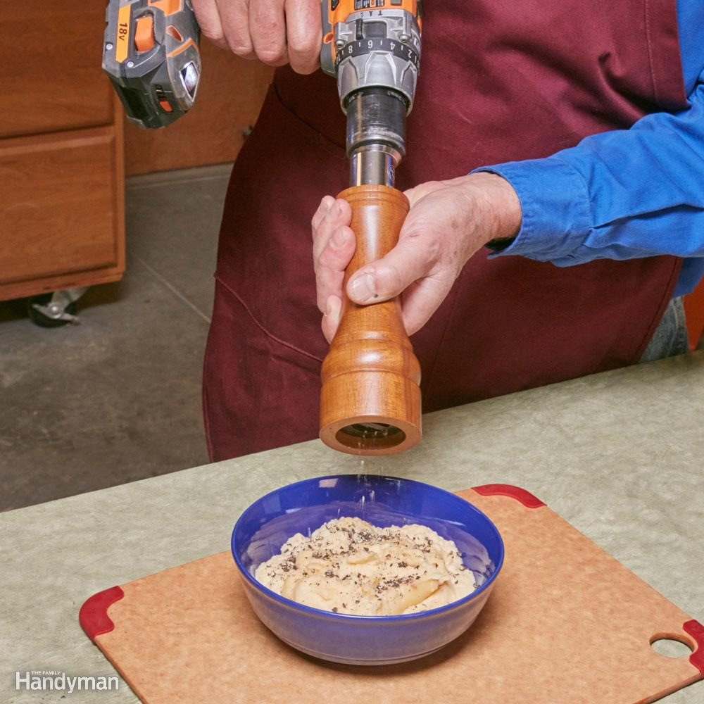Drill-powered pepper mill.