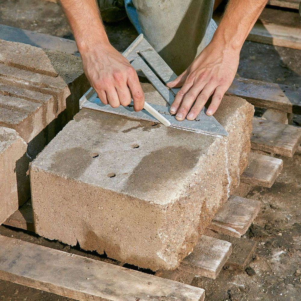 Tracing a line onto a stone block | Construction Pro Tips