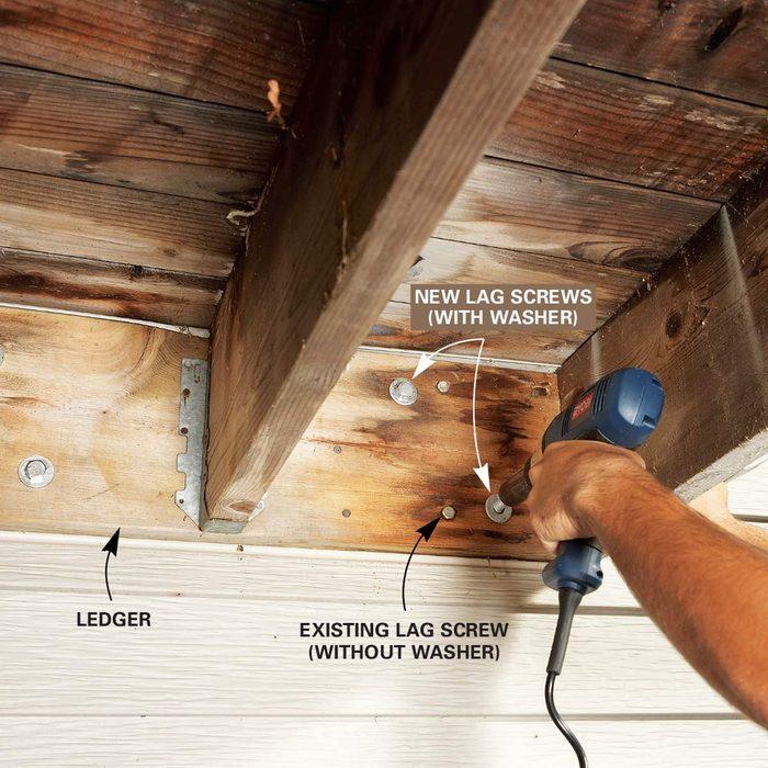 Problem 1: No lag screws in ledger board