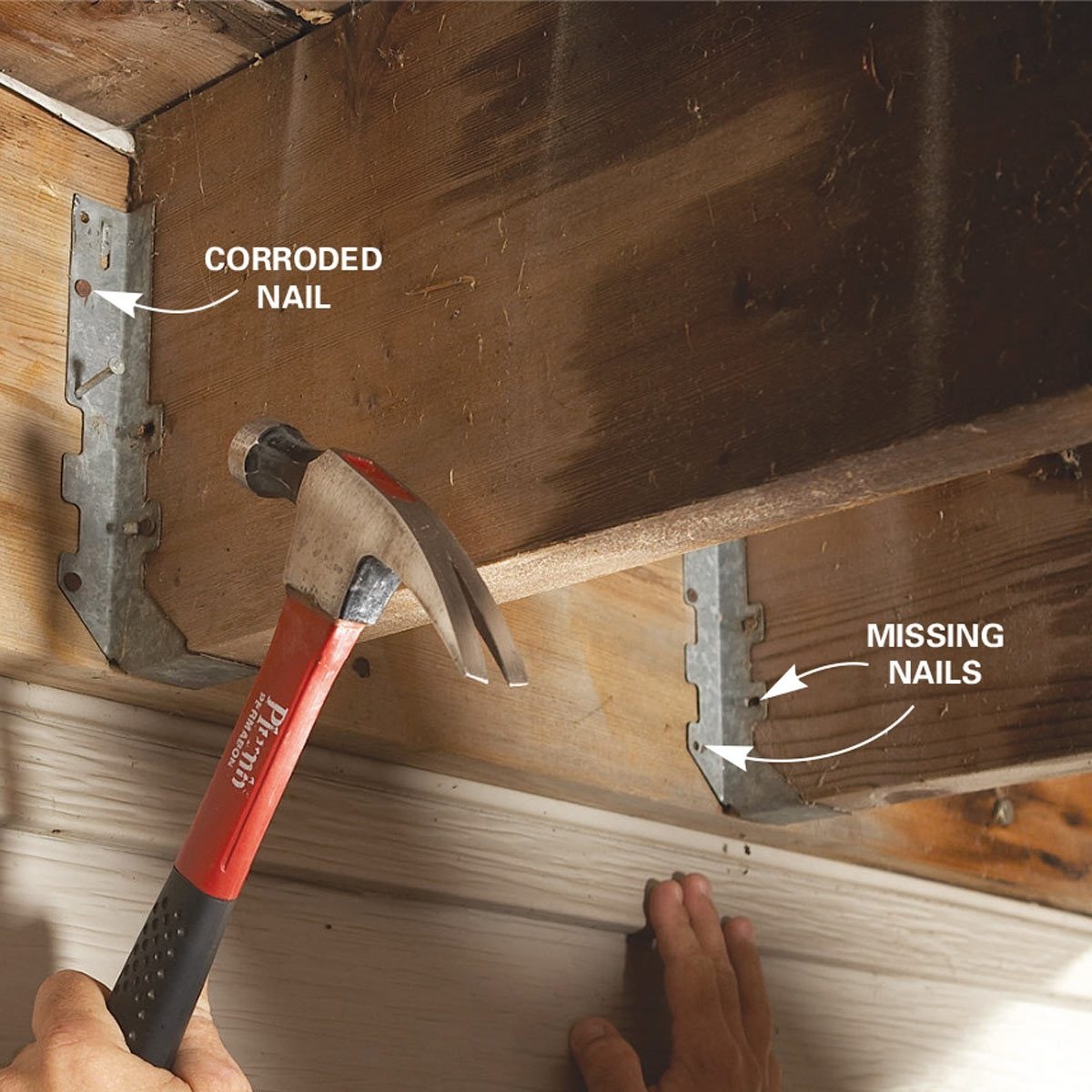 Problem 2: Missing nails in joist hangers
