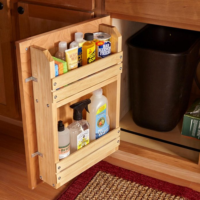 cabinet door storage rack