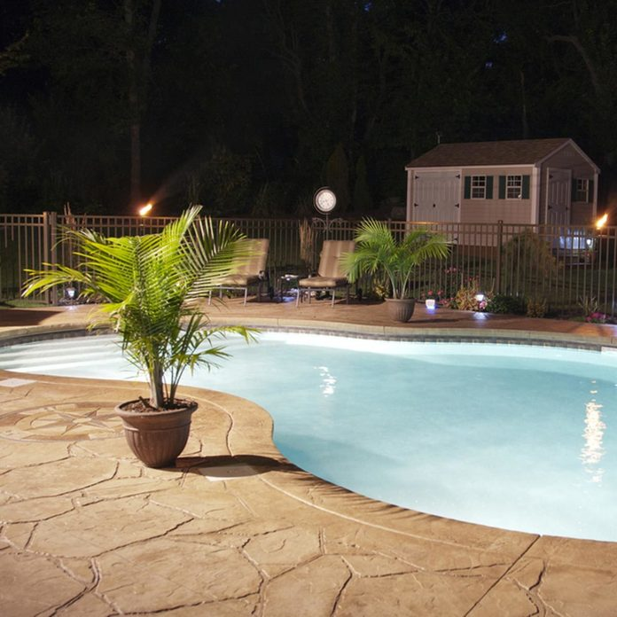 stamped concrete patio swimming pool