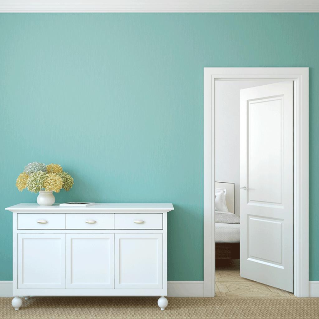 keep interior doors open teal wall