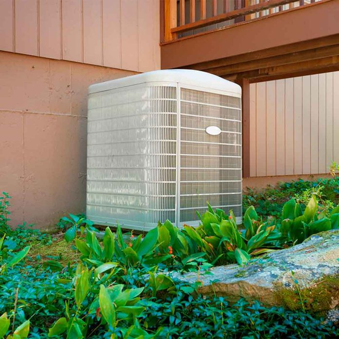 air conditioner with landscaping