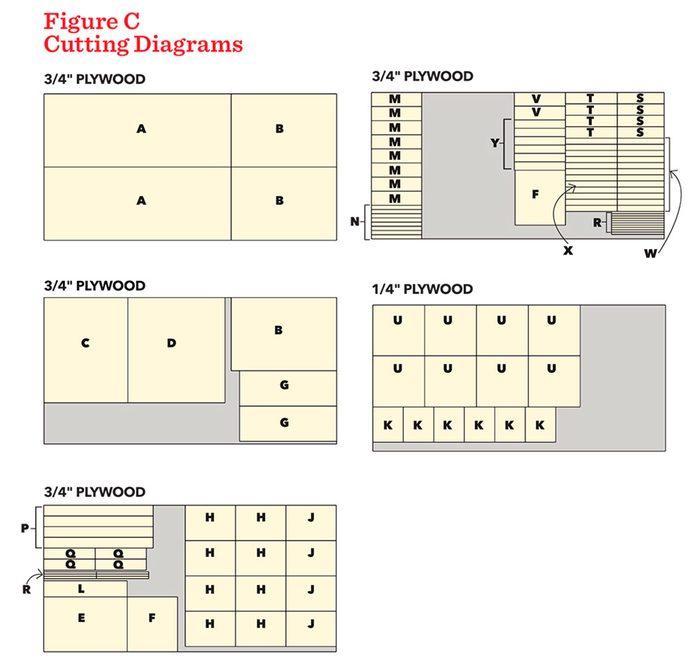 super-capacity tool cart figure c cutting diagram