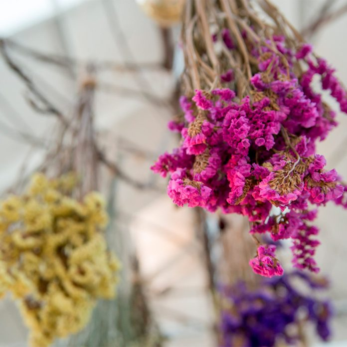 dried flowers with floss