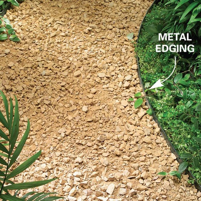 metal edging on a gravel path