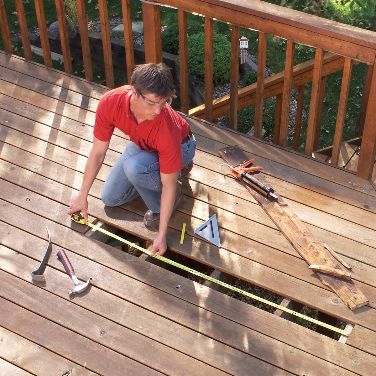 Replace broken deck boards