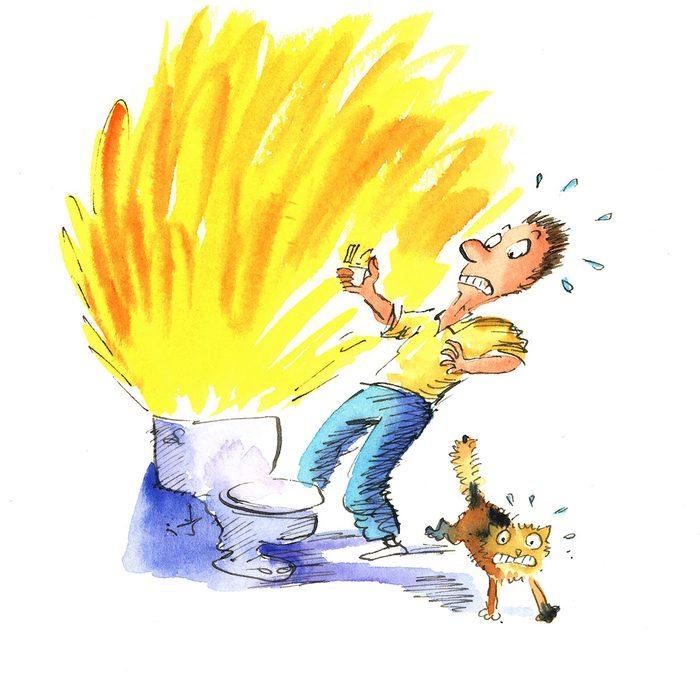 Exploding toilet trick