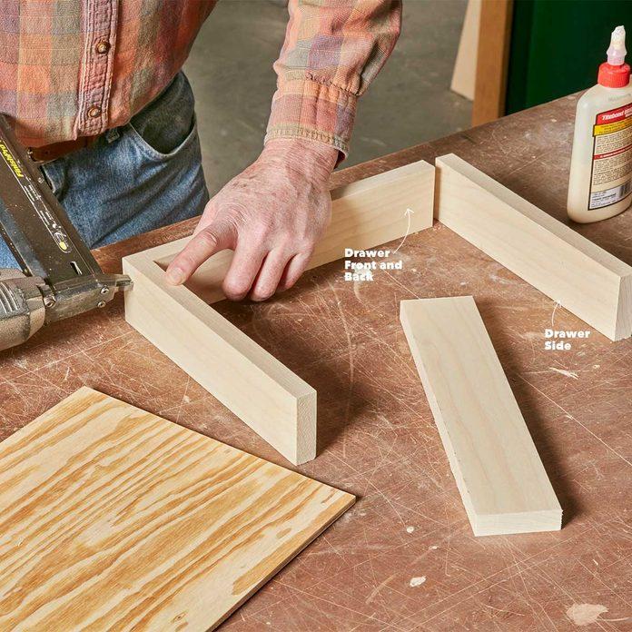 build the under-cabinet drawer frame