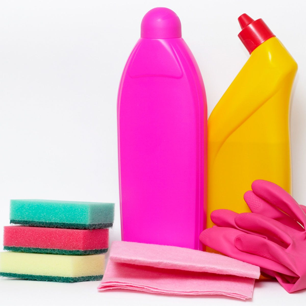empty cleaning products and bottles
