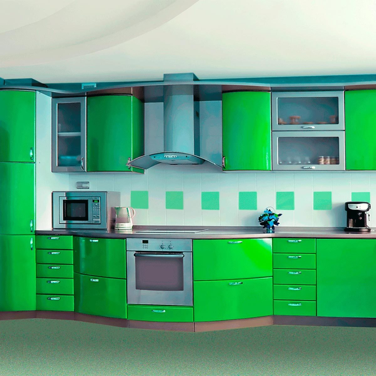 Redo the Cabinets in Shades of Green