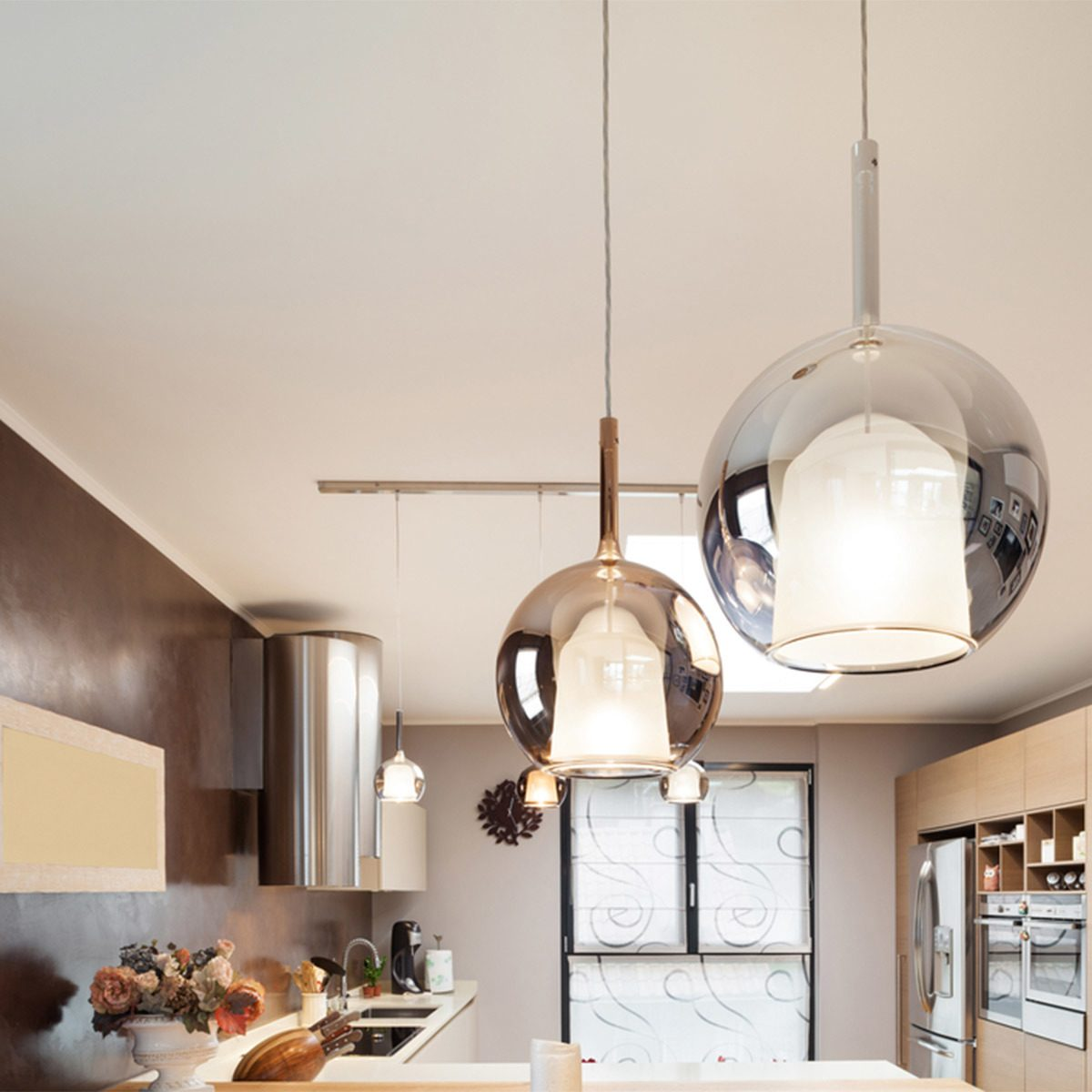 Replace Dated Light Fixtures in kitchen with modern pendant lights