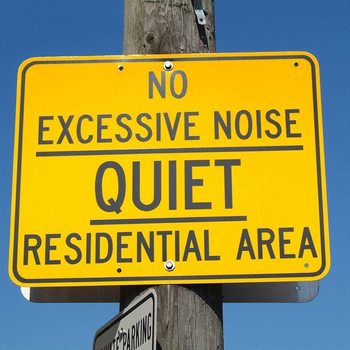 caution no noise sign neighborhood