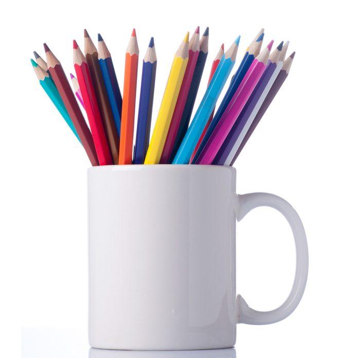 mug of colored pencils