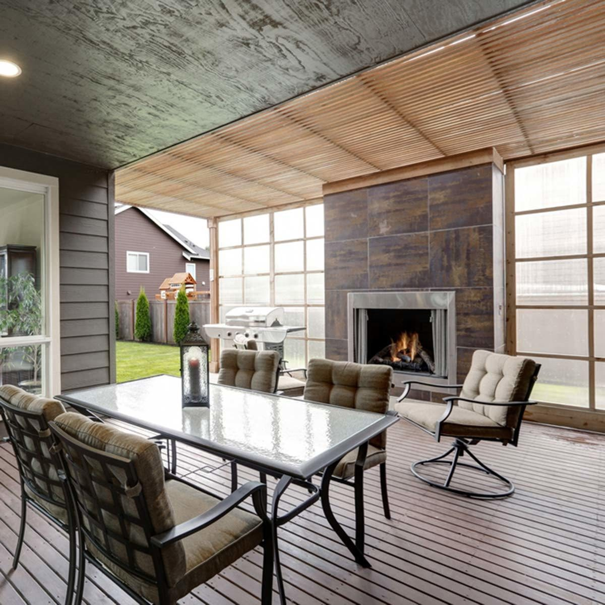 Deck with Built-In Fireplace