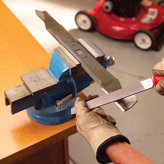 sharpen lawnmower blades