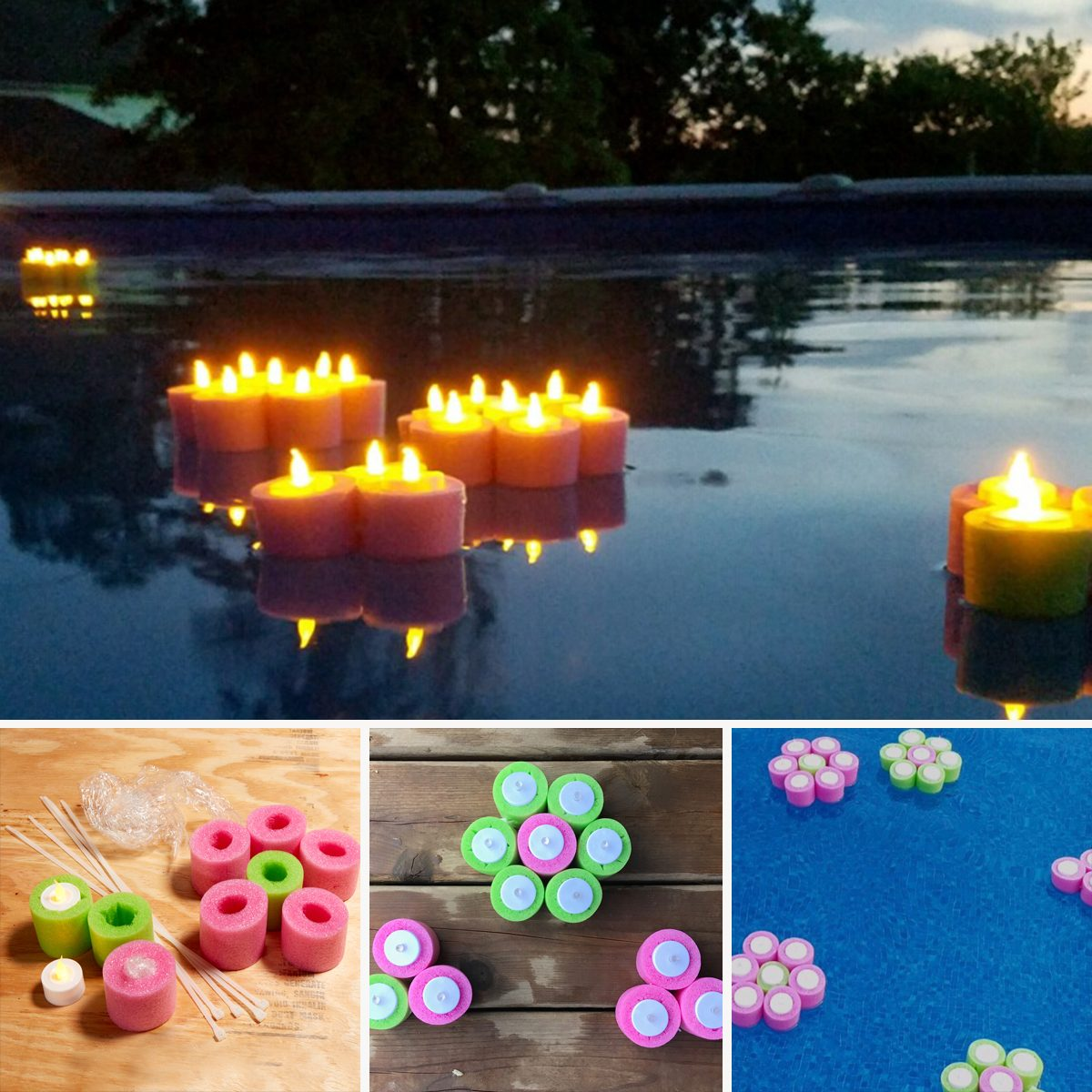 Floating Flower Tea Lights pool noodles