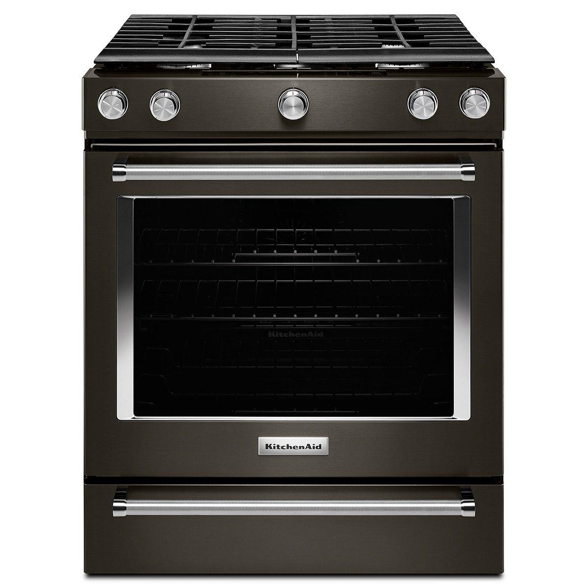 kitchenaid black stainless steel range
