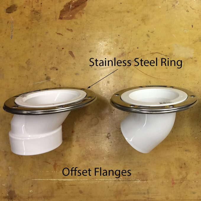 offset toilet flanges with stainless steel rings