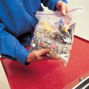 Junk drawer in a plastic bag