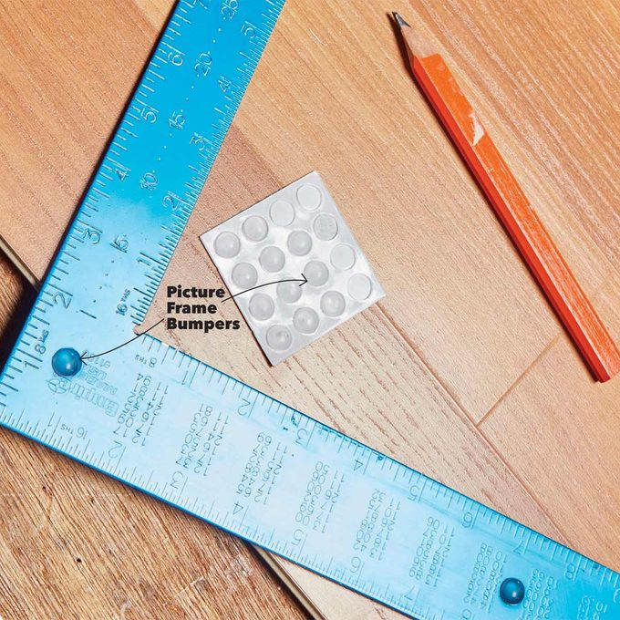 Picture frame bumpers square ruler