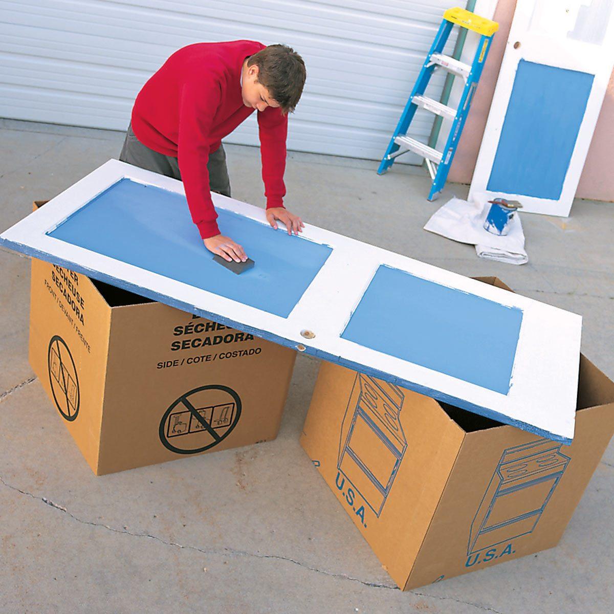cardboard box sawhorses