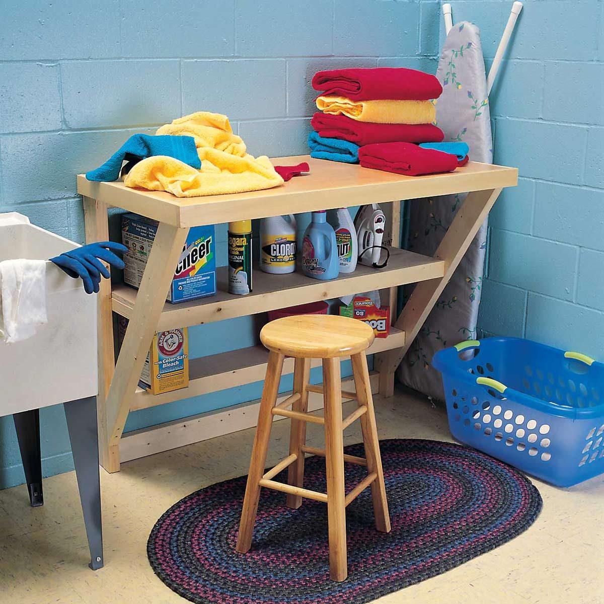 laundry room organization stool clothes