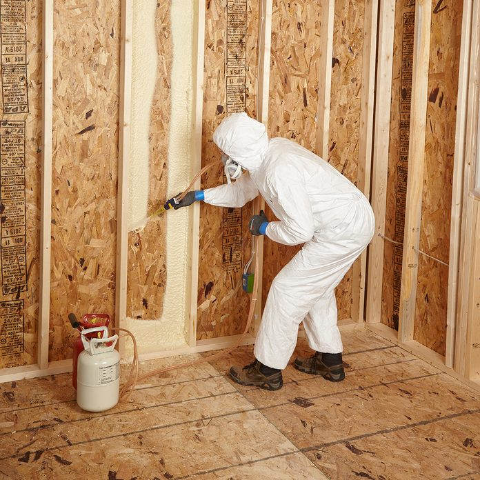 Spraying in a picture frame pattern first   Construction Pro Tips
