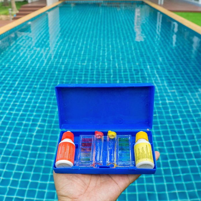 in-ground pool with chemicals