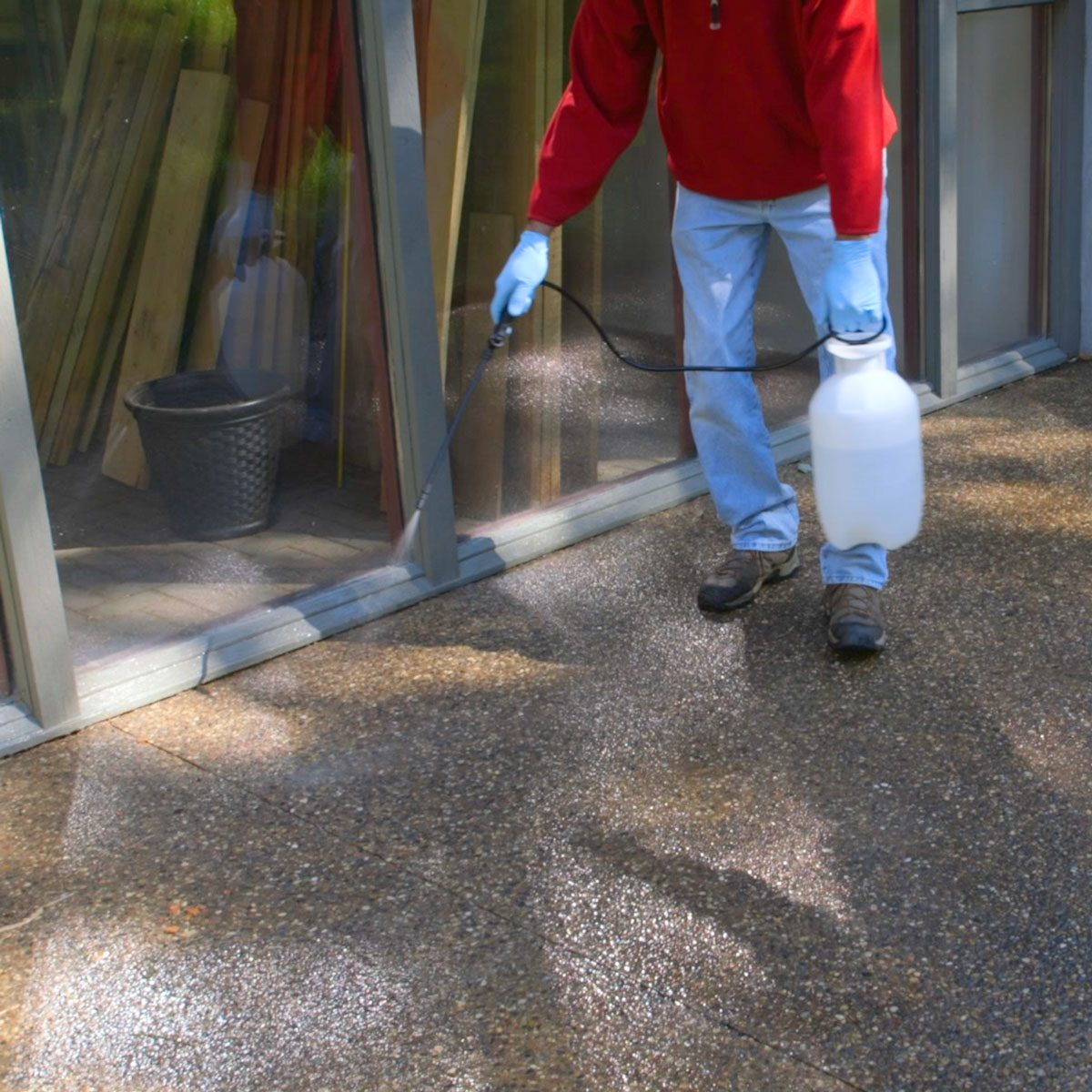 spraying acid on concrete