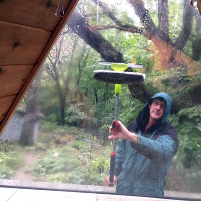washing skylights before rain