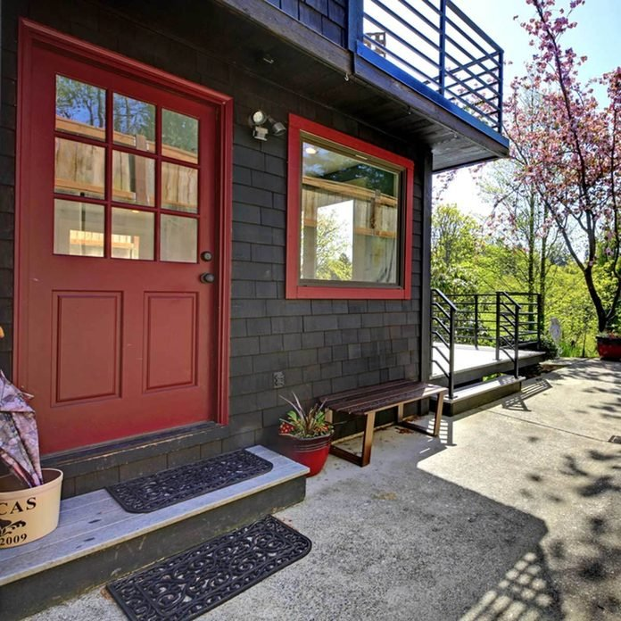 black with red door and trim exterior home color