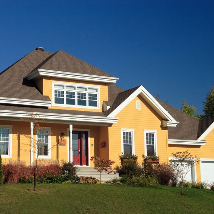 yellow exterior home color house red door home trends
