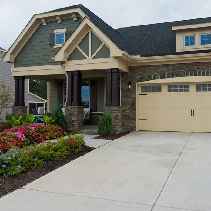 craftsman style home exterior color green