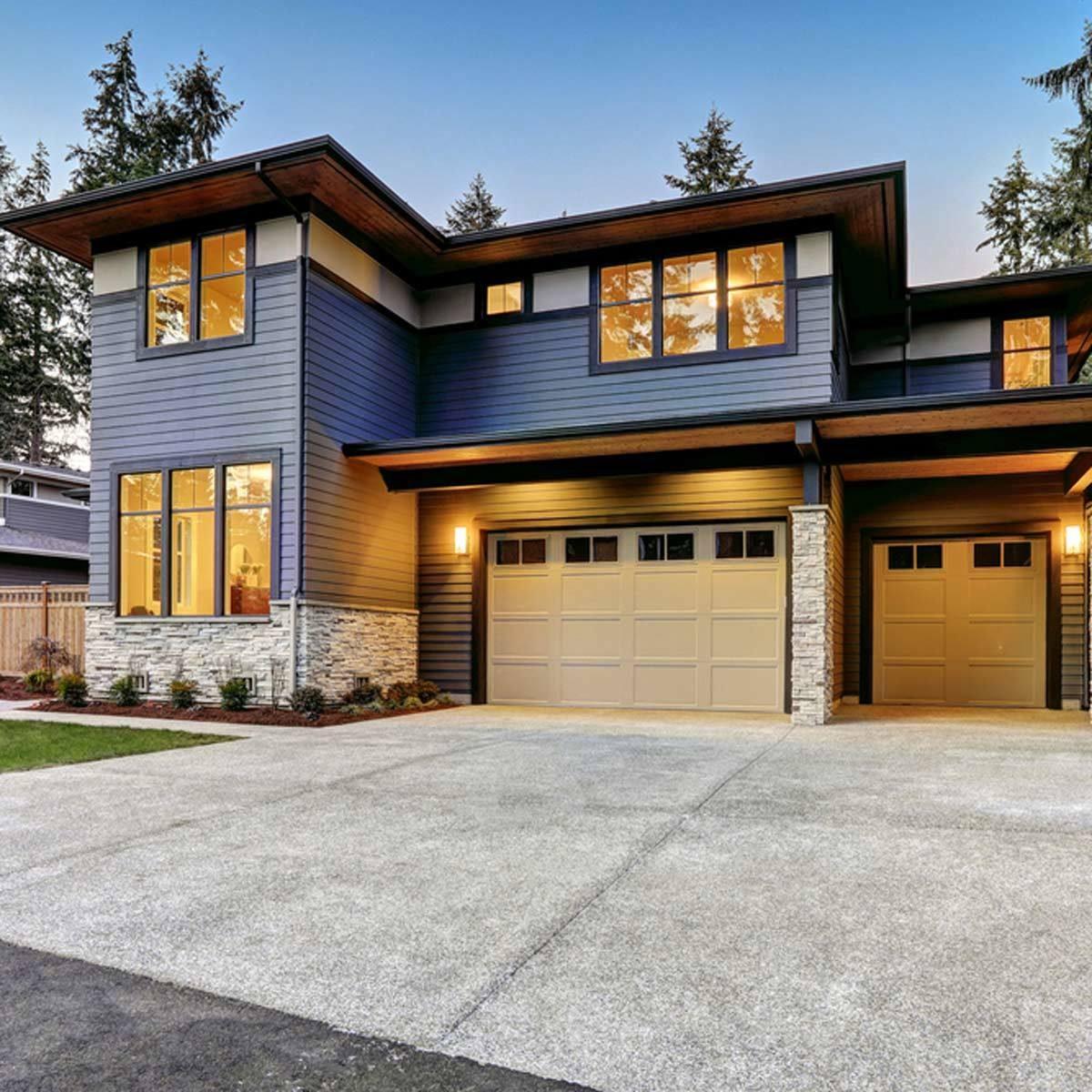 blue gray exterior color modern home