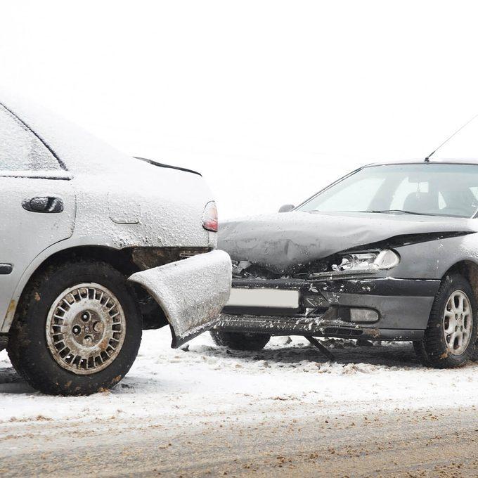 Car crash winter driving