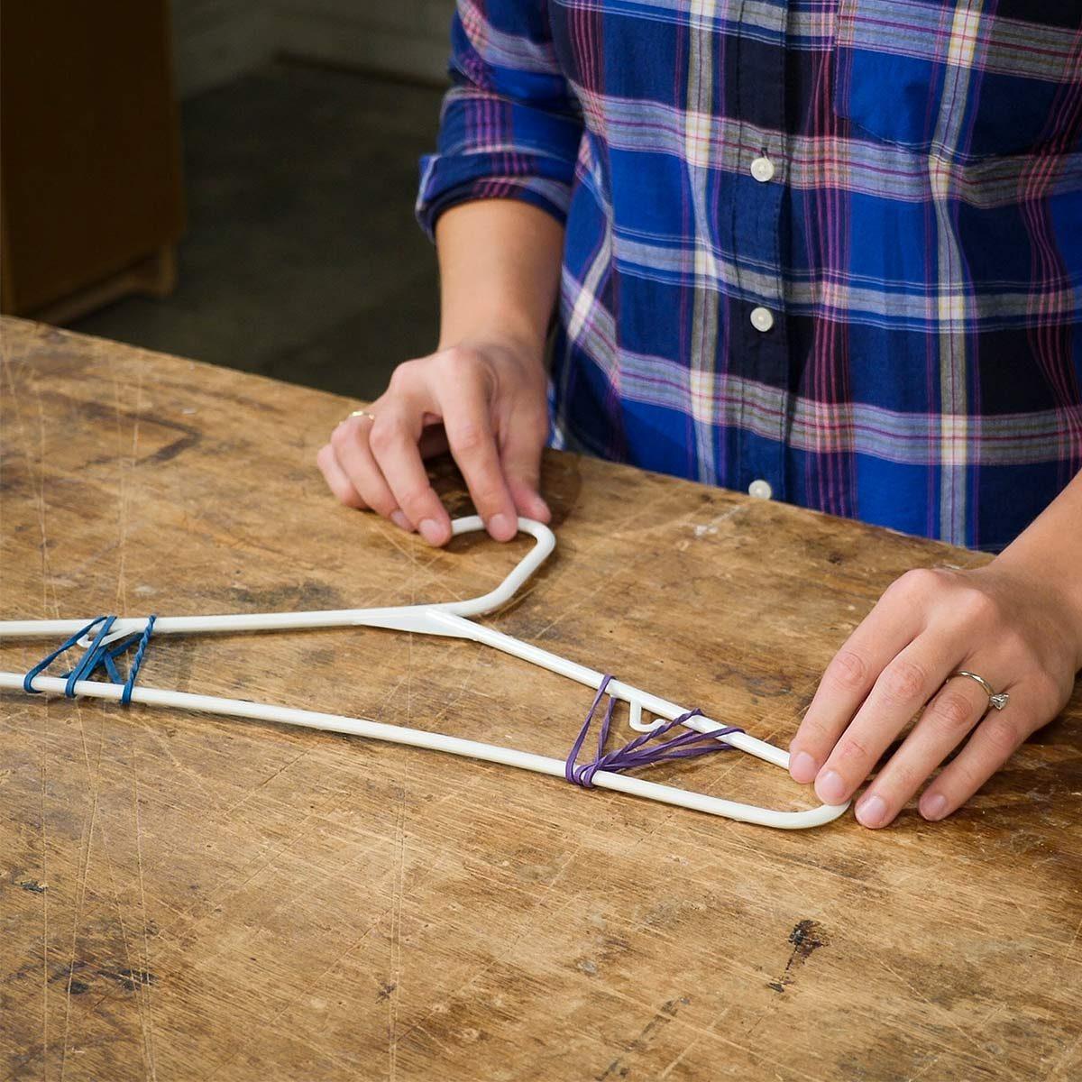 wrap rubber bands around hanger