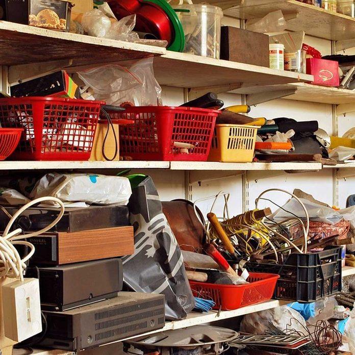 disorganized garage clutter