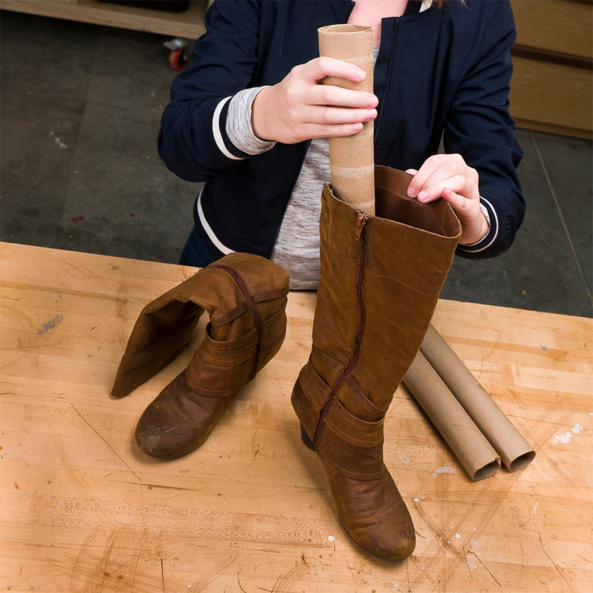 paper towel roll boot shaper
